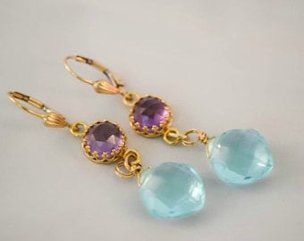 Sky Blue Quartz and Alexandrite Gold Dangle Earrings, Blue and Purple Drop Earrings