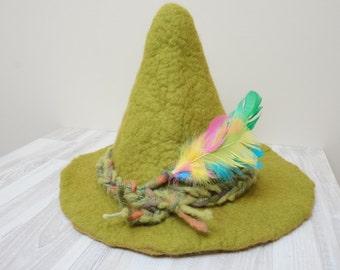 Snufkin hat green felted with felt wool flowers feather rose brooch sauna cap tribal Valentine Christmas carnival festival troll mummy