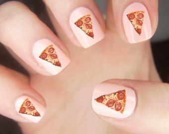 25 Pizza Nail Decals Waterslide