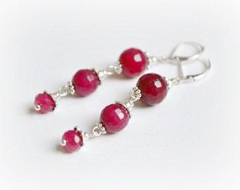 Ruby red earrings, natural jade earrings, long dangle earrings, antique silver earrings, cascade earrings.