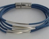 Sky blue leather bracelet with silver plated tubes and magnetic clasp or with gold plated tubes and magnetic clasp