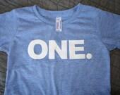 12-18m ONE Birthday Shirt Athletic Blue Toddler Short Sleeve Tri Blend Tee Shirt:  Ready to Ship!