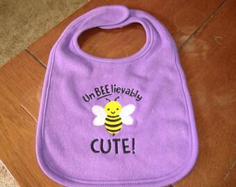 Embroidered Baby Bib -  UnBEElievable Cute - Purple Bib