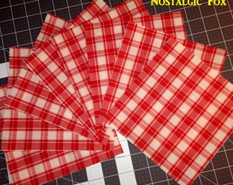 """Vintage 1940s/50s Woven Cotton Red & White Plaid Fabric~7"""" Craft Squares~ 8 pc Lot"""