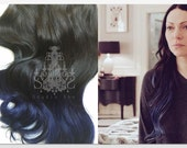 """Dark Brown or Black and Blue Ombre Hair, Deep Blue Dip Dye, Orange Is The New Black inspired hair, Ombre Clip In Hair Extensions, 20"""""""