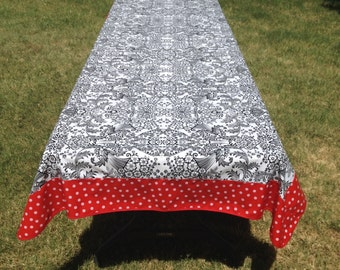 114 X 48 Oil Cloth Tablecloth Rectangle BLACK