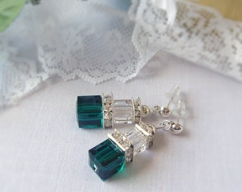 Crystal Cube Earrings, Emerald and Clear Swarovski Cube Crystal Earrings  with Silver Plated Squardelles and Stud Posts