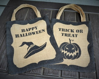 Burlap Halloween Trick or Treat Bags