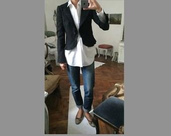 S / Black Avant garde Ruffle Blazer / Jacket / Emporio Armani/ wool / double lapels / flouncing