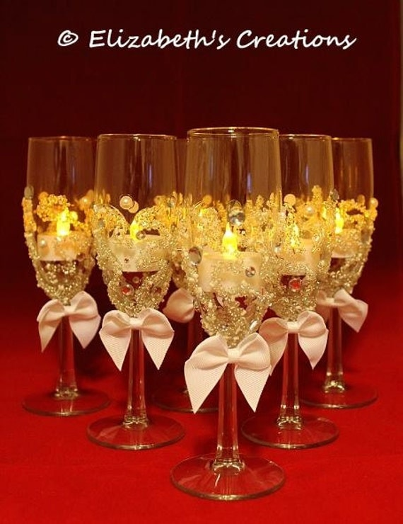 Beaded wine glass candle holder wedding centerpiece