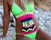 All Neon Everywhere. Crochet Monokini.