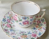 English Bone China Tea Cup/Saucer, Floral Transfer, Gold Trim, Housewarming Gift, Hostess Gift, Valentine Gift, Bridesmaid Gift, Collectible