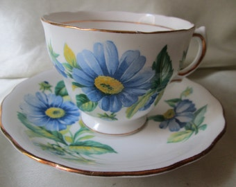 1960s English Bone China Tea Cup/Saucer,Blue Floral Transfer, Gold Trim. Housewarming Gift, Get well Gift, Thank You Gift,Wedding Gift