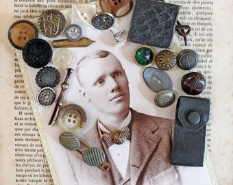 Antique Cabinet Card with Vintage Buttons and Findings*Vintage Inspiration Kit*Altered Art Supply