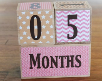 Wooden Baby Milestone Blocks. Photography Prop. Watch Me Grow. Age Blocks. Maternity Milestone Blocks. Shower Gift