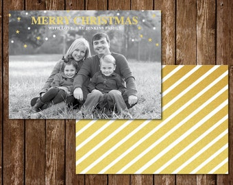 Gold Foil Photo Christmas Card with Stripes