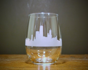 Chicago Skyline Stemless Wine Glass