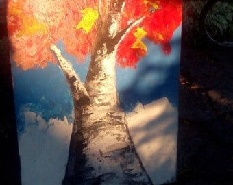 Fall tree/painting/ canvas /decor/original