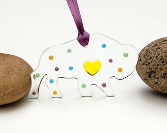 Fused Glass Buffalo Ornament, Fused Glass Buffalo Suncatcher