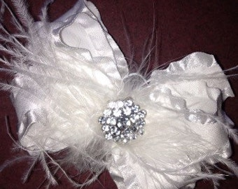 White Ruffle Hairbow with Rhinestones and Feathers