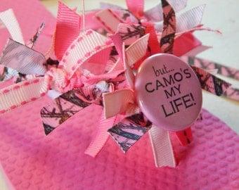 PINK CAMO ---Girls Flip Flops