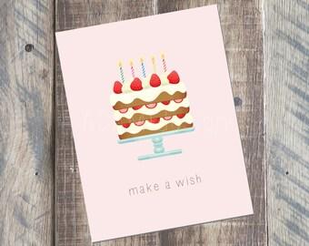 Happy Birthday Card - Make A Wish Card - 4.25 x 5.5 card - Printable PDF