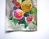 Floating Abstract Florals - Original Watercolour + Ink Pen Art Drawing - Size A5 - (unframed)