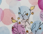 Gold leaf florals - Original Watercolour + Ink Pen Art Drawing - Size A5 - (unframed)