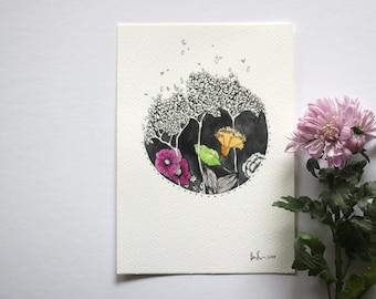 Forest Florals - Original Watercolour + Ink Pen Art Drawing - Size A5 - (unframed)