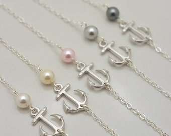 Set of 5 Bridesmaid Anchor and Pearl Bracelets, 5 Bridesmaid Pearl Bracelets, Anchor Bracelets, Bridesmaid Gift - Sterling Silver Chain 0301