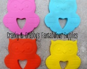 """Silicone Owl Teether 4"""" X 3 3/4""""  Four color choices One teether your choice of color"""