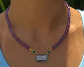 Pave-Set Rainbow Moonstone with violet amethyst, green onyx and white topaz necklace