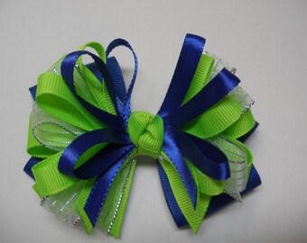 Bright Cobalt Blue NEON Lime Green Silver Glitz Hair Bow Toddler Girl