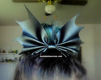 Faux Leather Bat Wing Bow Clip (Large)