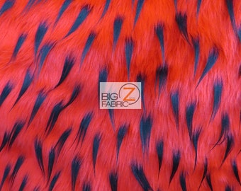 """Spike Shaggy Faux Fur Fabric - RED / BLACK SPIKES - Sold By The Yard 60"""" Width"""