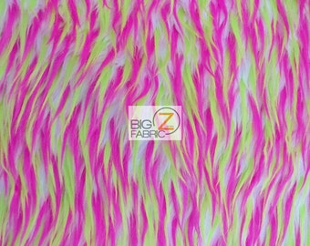 """Spike Shaggy Faux Fur Fabric - WHITE / LIME & PINK - Sold By The Yard 60"""" Width"""