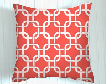 Trendy Coral. One Pillow Cover 20 X 20. Decorative Throw Pillows. Coral Pillows Covers.20 X 20 Fabric front and back .Geometric