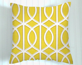 "THROW PILLOW  20"" x 20  ""Decorative Throw Pillow Cover "" Dwell  Gate Citrine Yellow / White Geometric  Fabric front & back - Accent Pillow"