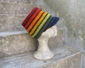 RESERVED Rasta Tube Dread Headband with brim Rainbow lined Size L