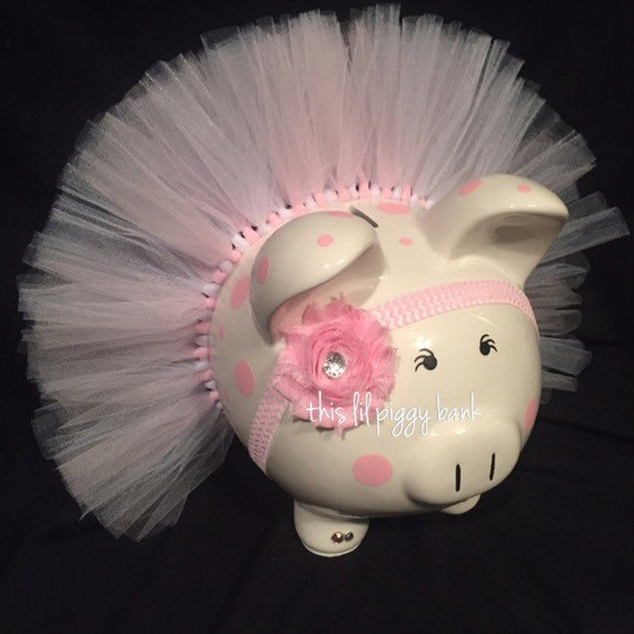 Items similar to piggy bank tutu large chevron headband piggy bank with short tutu matching - Rhinestone piggy bank ...