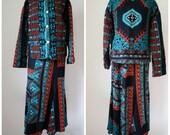 Carol Little Skirt Suit / Vintage St Tropez West / TribalPrint Skirt Suit / St. Tropez Fish Tail Skirt Set S/M