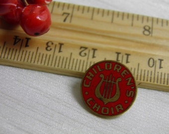 Vintage Children's Choir Lapel Pin  - Methodist Sunday School - Round Red and Gold Color