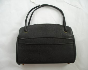 Mid Century Black Top Handle Handbag