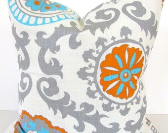 ORANGE PILLOWS BLUE and Orange Pillow Covers Blue Throw Pillows Aqua Blue Turquoise Throw pillow covers 20x20 24x24 26 Euro Shams Medallion