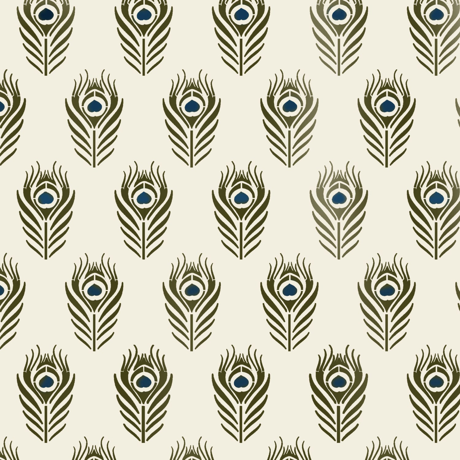 Peacock feather stencil repeat pattern decorating stencil zoom amipublicfo Image collections