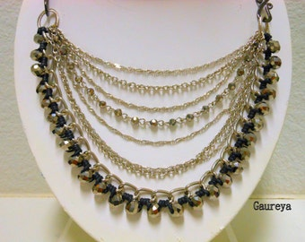 Sparkle Crystals,Multi layer Chain Necklace,Multi Strand,Bold Statement Necklace,Gypsy Fashion,Layering Necklace,Black and Silver,Bohemian