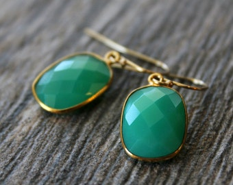 Small Chrysoprase Green Chalcedony Drop Earrings, Emerald Green, Large Dangle, Large Drop, Gold Vermeil, Huge Teardrop
