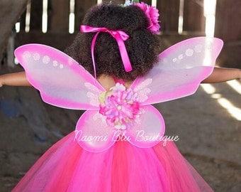 Naomi Blu Original Pink Enchanted Butterfly Princess Fairy Wings. Flower Halo Tutu Dress Separately. Costume, Birthday, Mini Sessions, Dance
