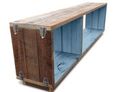 """Recycled Wood Stackable Modular """"Traveller"""" Bookcase / Shelf / Entertainment Unit With Silver Buckles - Pastel Robin's Egg Blue"""
