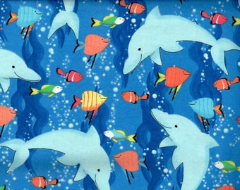 Dolphin flannel fabric dolphins in an ocean full of tropical fish -  Fabri-quilt - BY THE YARD